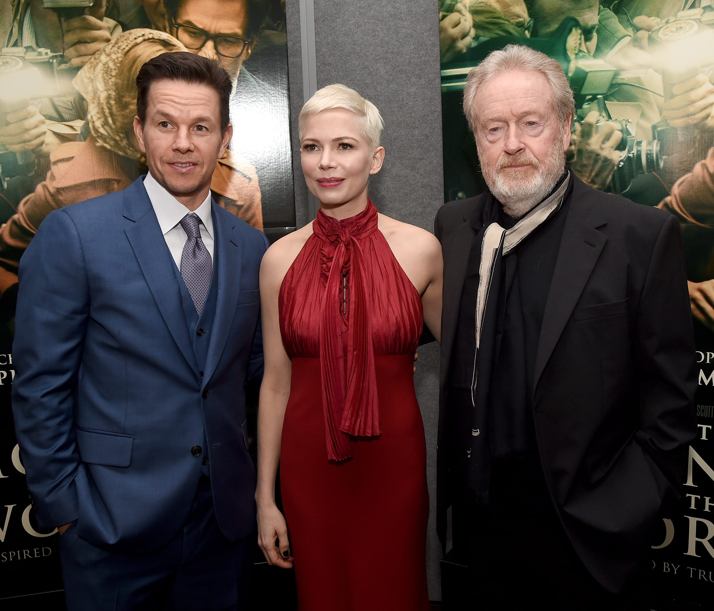 Mark Wahlberg, Michelle Williams and Ridley Scott at the December premiere of 'All the Money in the World.'