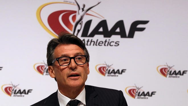 IAAF President Sebastian Coe speaks during a news conference after a meeting of the IAAF Council at the Grand Hotel in Vienna, Austria.