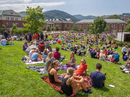 Students, faculty, staff and community members on the campus of Western Carolina University in Cullowhee in August 2017.