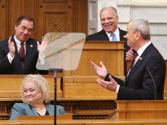 Assembly Speaker Craig Coughlin, left, and Senate President