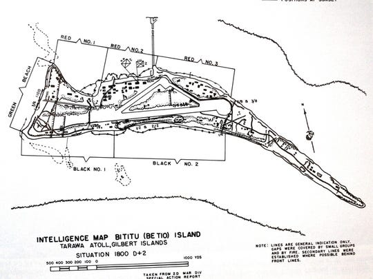 Intelligence map of Betio Island, Tarawa Atoll, Gilbert Islands.