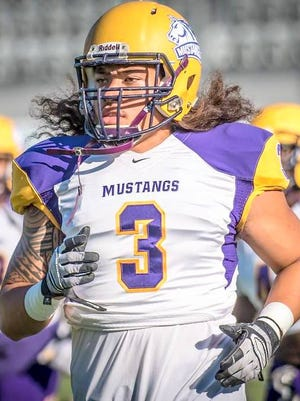 Defensive end Aaron Leauma practices recently. Sitting at 0-2, the Western New Mexico University football team will play its home opener Saturday at noon and look for its first win of the season.