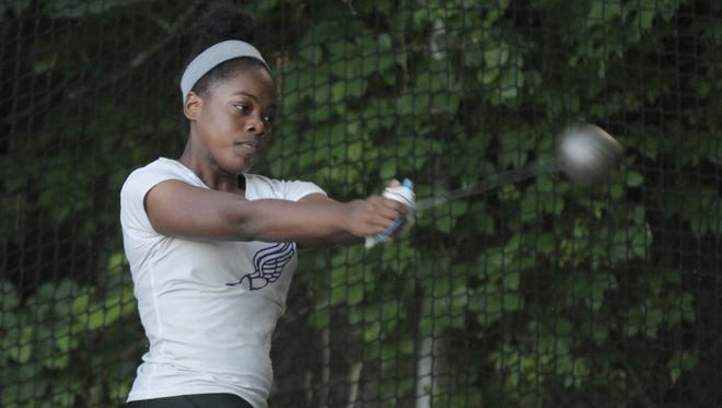 New Rochelle's Whitney Love throws the hammer in the the Section 1 race-walk, javelin and hammer throw championships at Hendrick Hudson High School in Montrose on Wednesday, May 31, 2017.