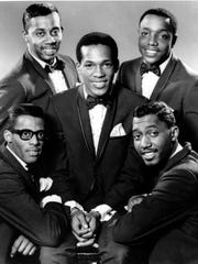 The Temptations in 1966. Clockwise from bottom left: David Ruffin, Melvin Franklin, Paul Williams, Otis Williams and, in the center, Eddie Kendricks.
