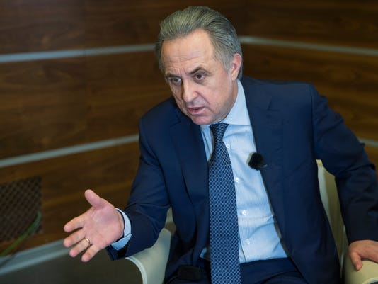 FILE - In this Friday, Feb. 2, 2018 file photo, Russian Deputy Prime Minister Vitaly Mutko speaks during an interview with the Associated Press in Moscow in Moscow, Russia. Russian Deputy Prime Minister Vitaly Mutko will no longer have governmental responsibility for the World Cup it was announced on Tuesday, March 6 - the latest soccer-related role he has left amid scrutiny over his involvement in a state-sponsored doping scheme.   (AP Photo/Pavel Golovkin, file)