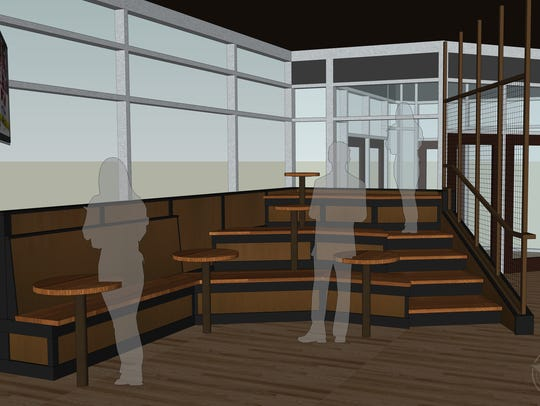 One corner of SportClub will have an area of bleacher-like