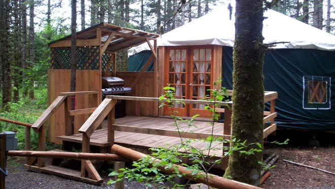 Yurts at Camp Dakota in Scotts Mills feature bunk beds, a wood stove and a gas grill. Some even have pool tables.