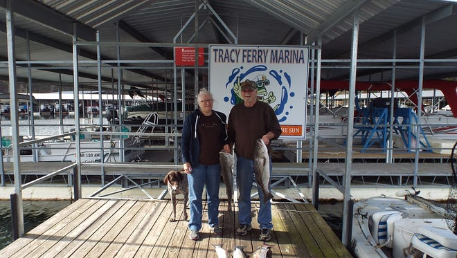 Even though they ended up missing their limit by one Dale, Debbie and Max had a great time fishing for stripers.