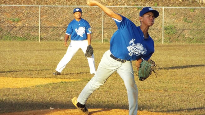 A pitcher lets loose  during the 76 Middle School PONY league that recently concluded at the GBA field at Okkodo High School.