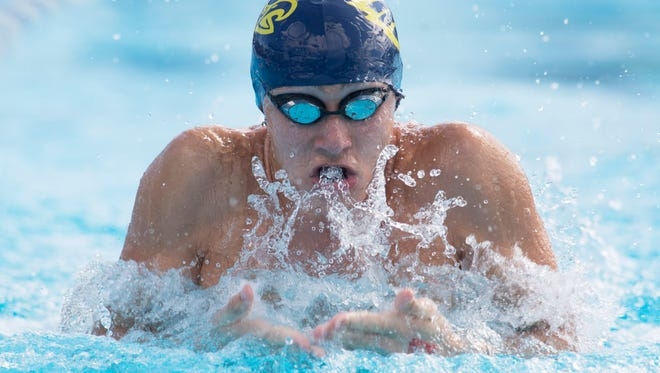 Naples' Matthew Limbacher swims the 100-yard breaststroke preliminaries during the FHSAA Class 3A Swimming and Diving Finals at Sailfish Splash Waterpark in Stuart on Friday, Nov. 4, 2016.