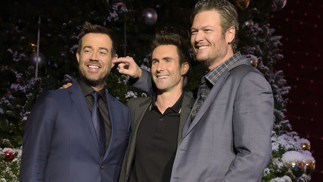 Carson Daly, Adam Levine and Blake Shelton attend the Universal CityWalk Tree Lighting Ceremony at Universal CityWalk on Nov. 24, 2014 in Universal City, Calif.