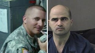 Army Spc. Ivan Lopez, left, is the suspected gunman in a shooting at Fort Hood, Texas. Army Maj. Nidal Hasan is booked after a mass shooting at Fort Hood in 2009.