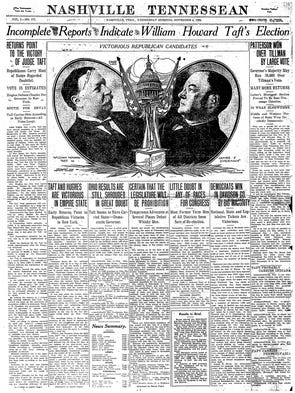 The front page of the Nov. 4, 1908 edition of The Tennessean