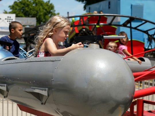 4 year old Mia Peterson takes control of the Sky Fighter