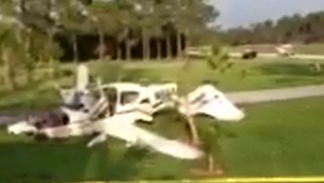 A report on a private plane crash at Pine Shadows Air Park in North Fort Myers in April concludes the crash was due to the pilot landing in conditions, failure to flare the plane and maintain control. The pilot and three others were unhurt.