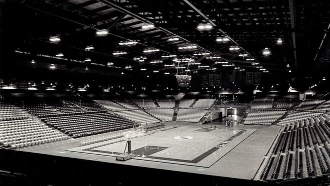Roberts Stadium, depicted before a UE basketball game in 1980, hosted the NCAA College Division (now Division II) national tournament from 1957 to '77.