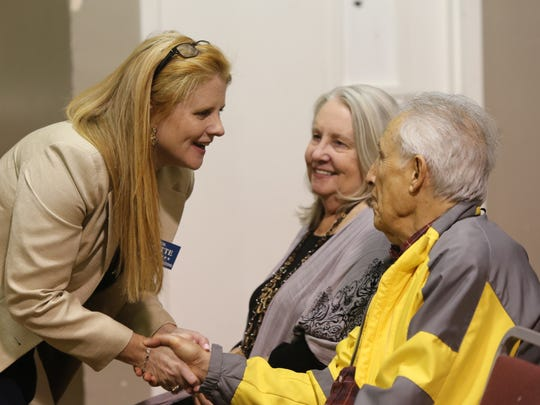 Maureen Porette speaks with residents before her announcement that she is running for Rockland County executive at Nyack Center in Nyack on Wednesday.