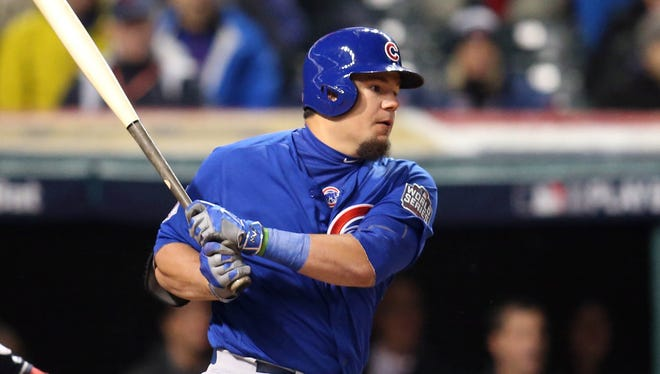 Kyle Schwarber hitting .429, reaching base five times in nine at-bats, with a double, two singles and two RBI.