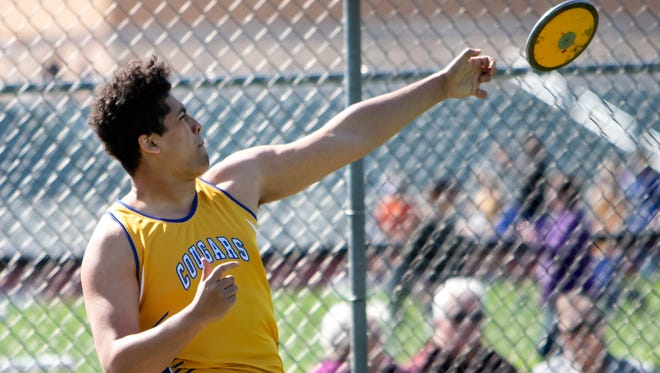 Campbellsport's Elijah O'laughlin throws a discus competing during the East Central Conference track meet on May 15, 2018, in Berlin.