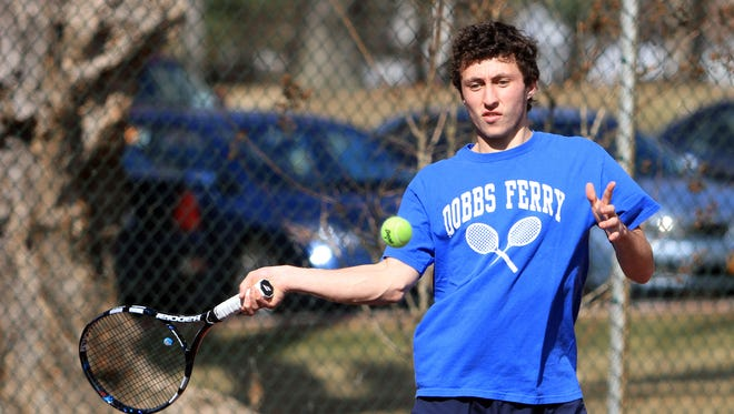 Dobbs Ferry tennis star Mike Selin returns a shot during practice at Mercy College in Dobbs Ferry March 20, 2014.