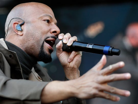 Rapper and actor Common performs at a rally commemorating