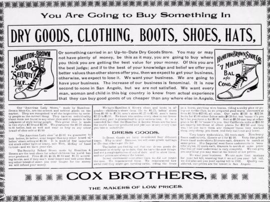 Cox Brothers Dry Goods offered a wide variety of clothing