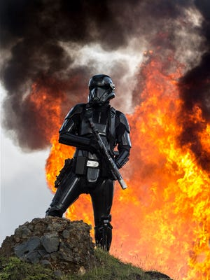 """A Death Trooper in action in """"Rogue One: A Star Wars Story."""""""