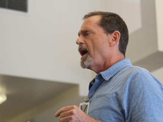 Clem Pellett makes a statement to the Montana Parole Board at Dryman's May, 2015 hearing. Pellett's two year investigation into his grandfather's murder led to the arrest of Frank Dryman in Arizona in 2010.