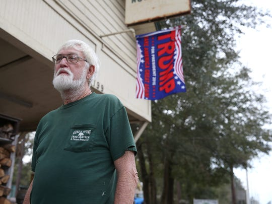 Gene Pfund, who lives in the Fort Braden area of Tallahassee, stands outside of his business on Blountstown Highway on Friday, Jan. 6, 2016. Pfund, along with the majority of voters in Fort Braden, cast his vote for President Elect Donald Trump.