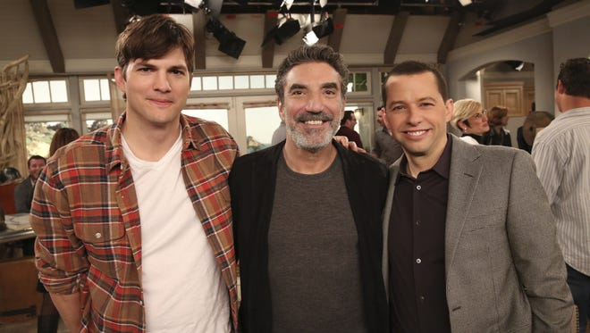 """(L-R) Ashton Kutcher, Creator/Executive Producer Chuck Lorre, and Jon Cryer are pictured behind the scenes during taping of the series finale of the CBS comedy """"Two and a Half Men"""""""