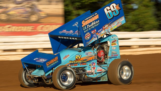 Lance Dewease, shown in his No. 69 car in an event earlier this season, won the Tuscarora 50 at Port Royal on Saturday for the fifth time.