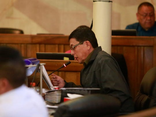 Navajo Nation Council Delegate Walter Phelps speaks on Jan. 28 during the Tribal Council's winter session at the Council Chambers in Window Rock, Ariz.