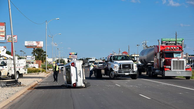 A crash sends two to hospital and shuts North Bryant down to one lane Saturday afternoon.