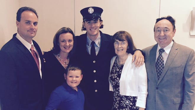 Firefighter Daniel Nee and his family.
