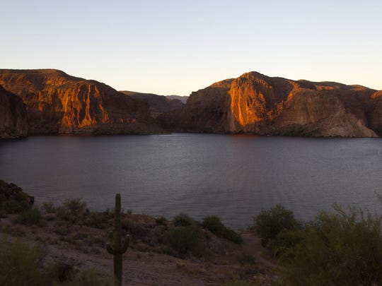 Canyon Lake at sunset in the Superstition Wilderness
