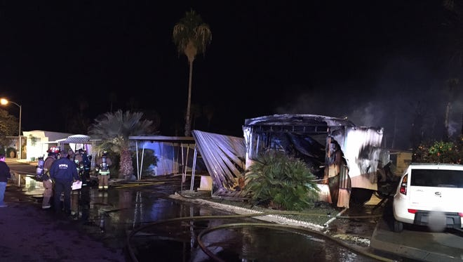 A fire ignited at a Mesa trailer park early Saturday morning.