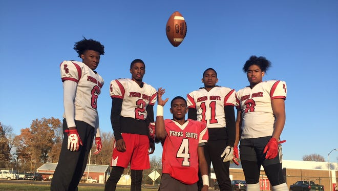 From left: Penns Grove's Josh Martin, Jamar Johnson, Kavon Lewis, Torvon Ransome and Tyreke Brown have made the Red Devils' passing attack one of the most productive in the state.