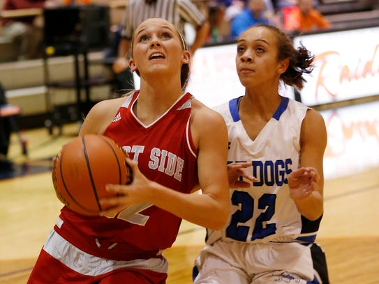 Kylie Martin of West Lafayette drives to the basket