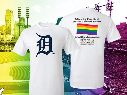 "The T-shirt offered by the Detroit Tigers for the ""Pride"