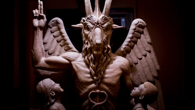 The $100,000 Baphomet statue depicts Satan as a winged, goat-headed figure.