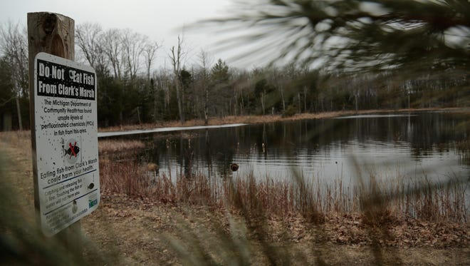 Signs from the Michigan Department of Community Health warn to not eat fish from Clark's Marsh in Oscoda on the grounds of the decommissioned Wurtsmith Air Force Base due to unsafe levels of PFCs in fish and the surface water. The photo was taken on March 23, 2016.