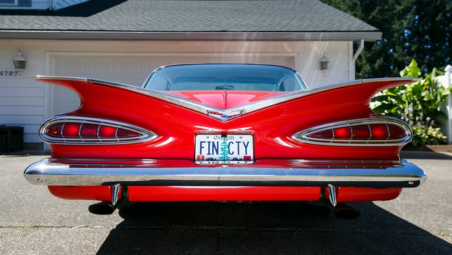 """Cece Mosher's 1959 Chevrolet Impala on Tuesday, Aug. 1, 2017, in Salem, Ore. Mosher says when she bought the car for $3,000 in 1987, """"it was a piece of junk."""""""