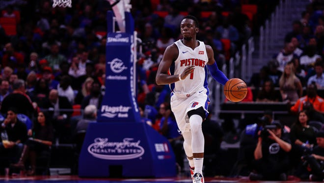 Pistons guard Reggie Jackson dribbles against the Hornets in the second quarter at Little Caesars Arena in Detroit, Wednesday, Oct. 18, 2017.