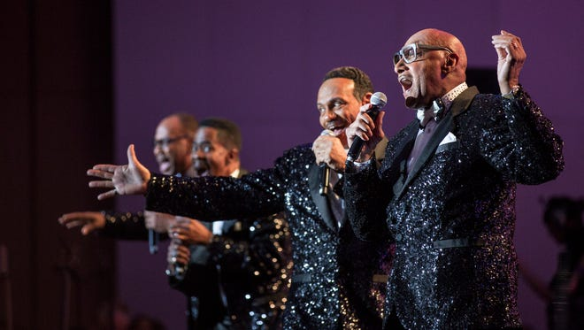 The Four Tops perform during the closing ceremony of the 2018 North American International Auto Show Charity Preview at Cobo Center in Detroit on Friday, January 19, 2018.