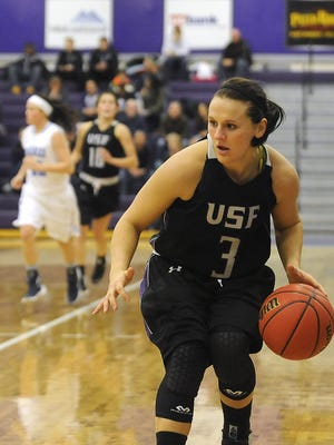 USF's #3 Taylor Varsho drives down the court against Upper Iowa during basketball action at the Stewart Center in Sioux Falls, S.D., Saturday, Jan. 9, 2016.