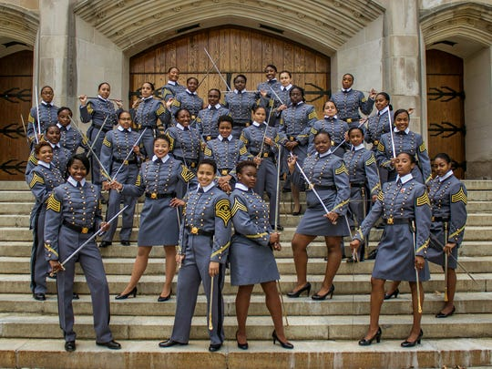 Black female cadets of the class of 2019 pose at the U.S. Military Academy in West Point, N.Y. The cadets say they're proud to be part of a milestone at the historic academy after four years of testing their limits.