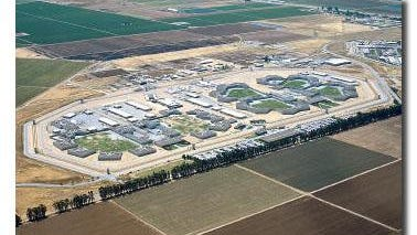 An aerial rendering of Salinas Valley State Prison