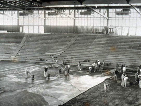 Construction on the interior of Roberts Stadium in