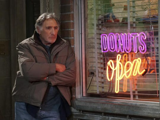 """This image released by CBS shows Judd Hirsch as Arthur in a scene from the new comedy series, """"Superior Donuts,"""" premiering  Thursday, Feb. 2, on CBS."""