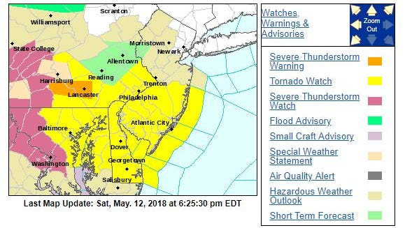 The National Weather Service in Mount Holly has issued a tornado watch for Ocean County.